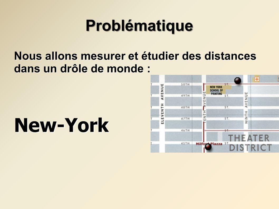 Les distances à New-York Les distances à New-York Voici le chemin le plus court pour relier le point A au point B dans le plan usuel : La ville de New-York est en partie constituée de rues qui sont soient parallèles à une autre, soit perpendiculaires.