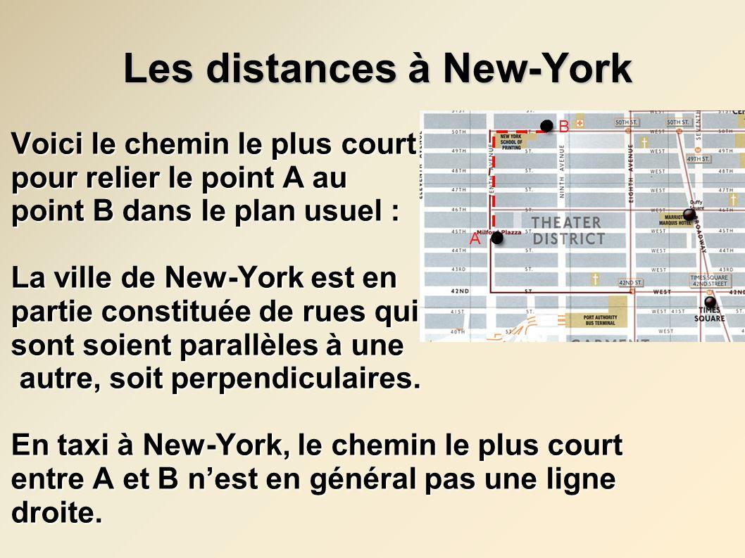 Les distances à New-York Les distances à New-York Nous avons étudié les points suivants pour New-York, une ville qui a donc des rues ainsi : 1) Les longueurs 2) Le nombre de chemins 3) Les triangles, les carrés et les cercles