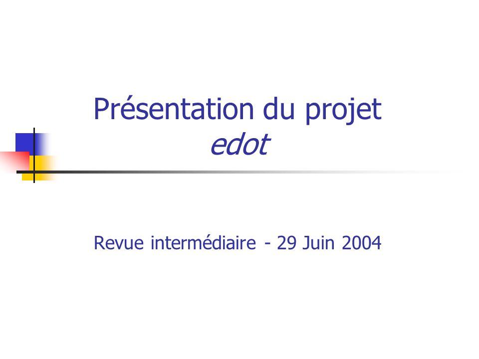 Présentation du projet edot Revue intermédiaire - 29 Juin 2004