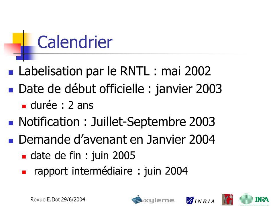Revue E.Dot 29/6/2004 Calendrier Labelisation par le RNTL : mai 2002 Date de début officielle : janvier 2003 durée : 2 ans Notification : Juillet-Septembre 2003 Demande d'avenant en Janvier 2004 date de fin : juin 2005 rapport intermédiaire : juin 2004