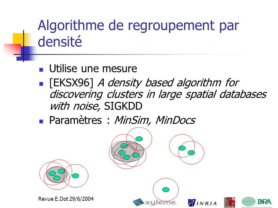 26 Revue E.Dot 29/6/2004 Algorithme de regroupement par densité Utilise une mesure [EKSX96] A density based algorithm for discovering clusters in large spatial databases with noise, SIGKDD Paramètres : MinSim, MinDocs