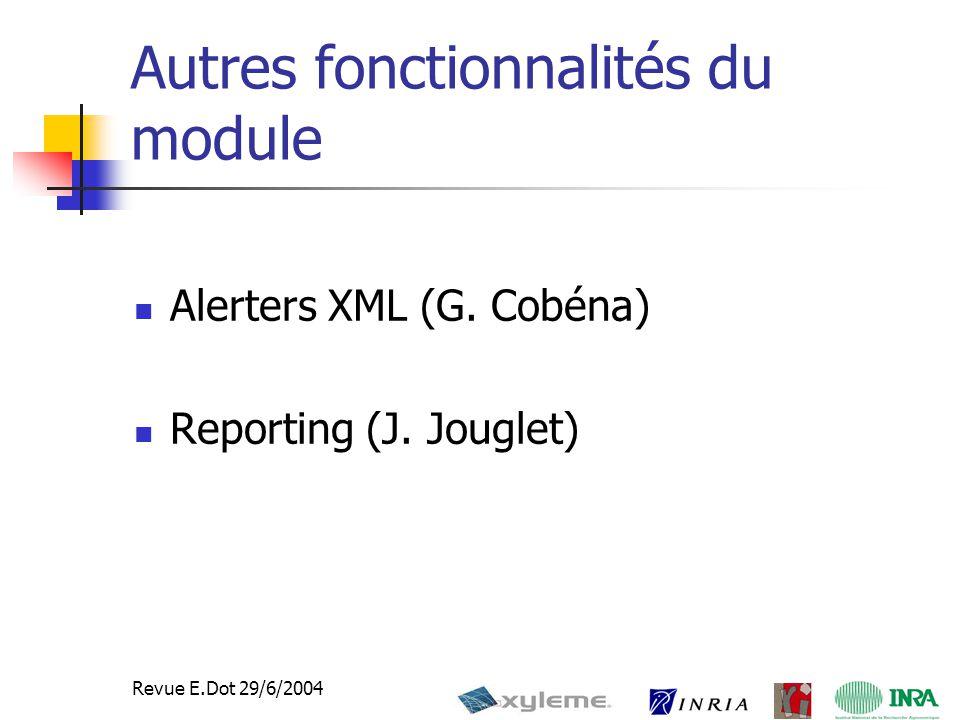 40 Revue E.Dot 29/6/2004 Autres fonctionnalités du module Alerters XML (G.