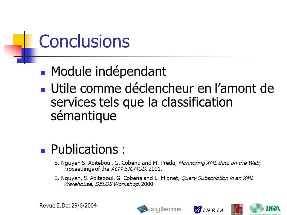 42 Revue E.Dot 29/6/2004 Conclusions Module indépendant Utile comme déclencheur en l'amont de services tels que la classification sémantique Publications : B.