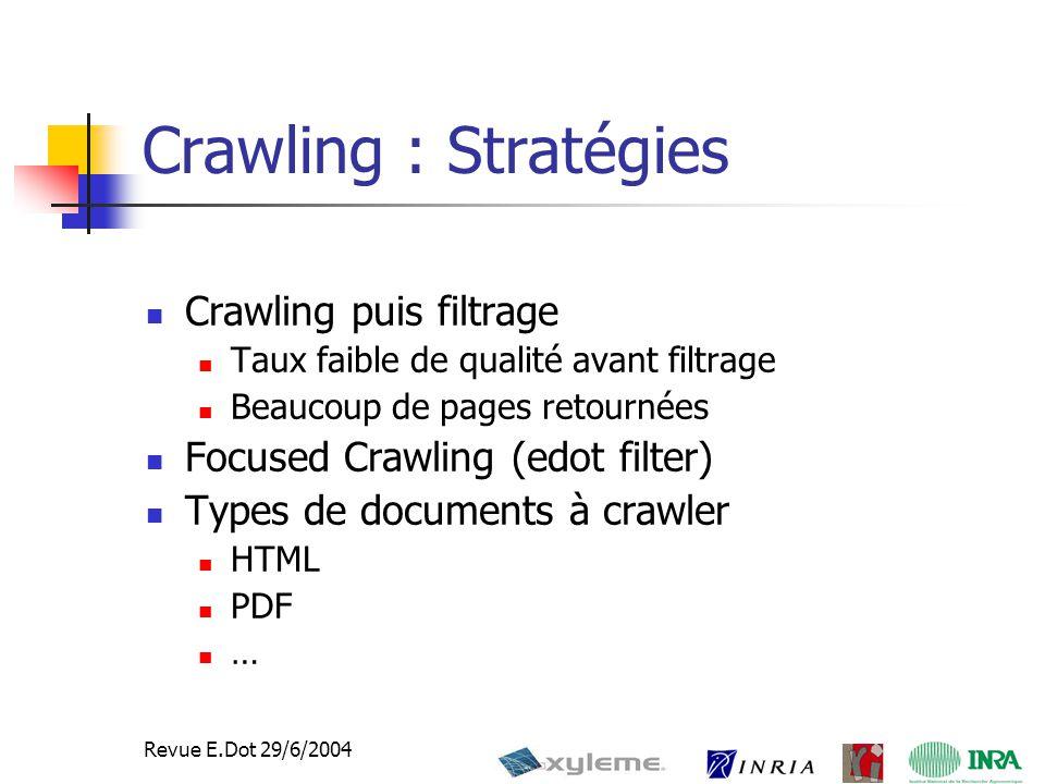 7 Revue E.Dot 29/6/2004 Crawling : Stratégies Crawling puis filtrage Taux faible de qualité avant filtrage Beaucoup de pages retournées Focused Crawling (edot filter) Types de documents à crawler HTML PDF …