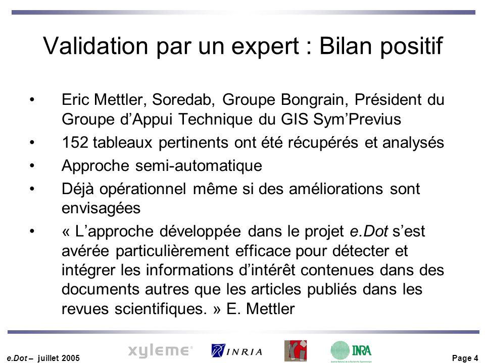 e.Dot – juillet 2005 Page 4 Validation par un expert : Bilan positif Eric Mettler, Soredab, Groupe Bongrain, Président du Groupe d'Appui Technique du
