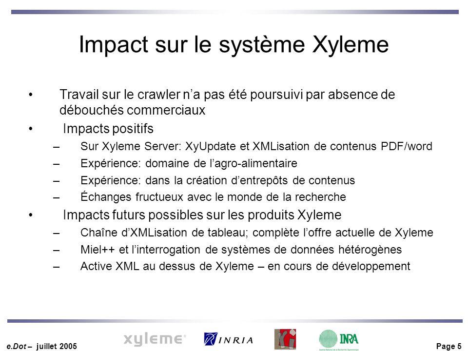 e.Dot – juillet 2005 Page 5 Impact sur le système Xyleme Travail sur le crawler n'a pas été poursuivi par absence de débouchés commerciaux Impacts positifs –Sur Xyleme Server: XyUpdate et XMLisation de contenus PDF/word –Expérience: domaine de l'agro-alimentaire –Expérience: dans la création d'entrepôts de contenus –Échanges fructueux avec le monde de la recherche Impacts futurs possibles sur les produits Xyleme –Chaîne d'XMLisation de tableau; complète l'offre actuelle de Xyleme –Miel++ et l'interrogation de systèmes de données hétérogènes –Active XML au dessus de Xyleme – en cours de développement