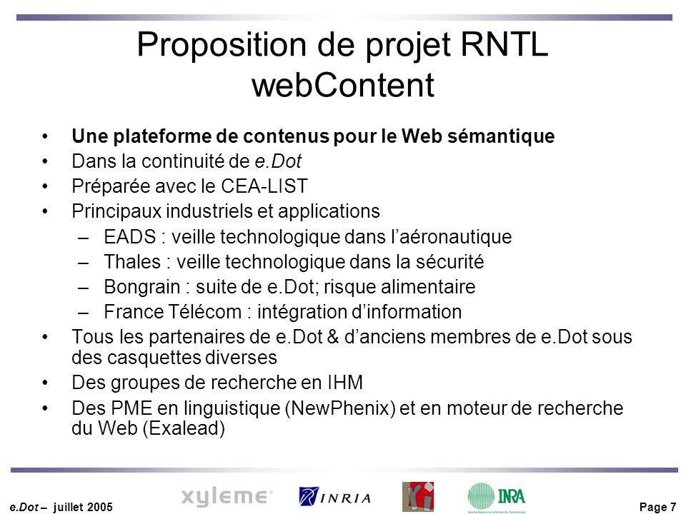 e.Dot – juillet 2005 Page 7 Proposition de projet RNTL webContent Une plateforme de contenus pour le Web sémantique Dans la continuité de e.Dot Prépar