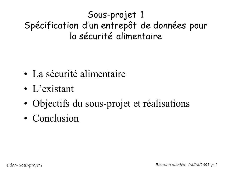 Réunion plénière 04/04/2003 p.1 e.dot - Sous-projet 1 Sous-projet 1 Spécification d'un entrepôt de données pour la sécurité alimentaire La sécurité al