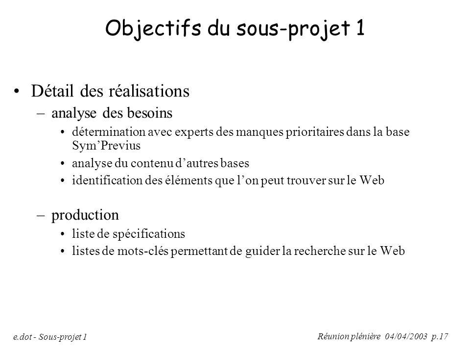 Réunion plénière 04/04/2003 p.17 e.dot - Sous-projet 1 Objectifs du sous-projet 1 Détail des réalisations –analyse des besoins détermination avec expe