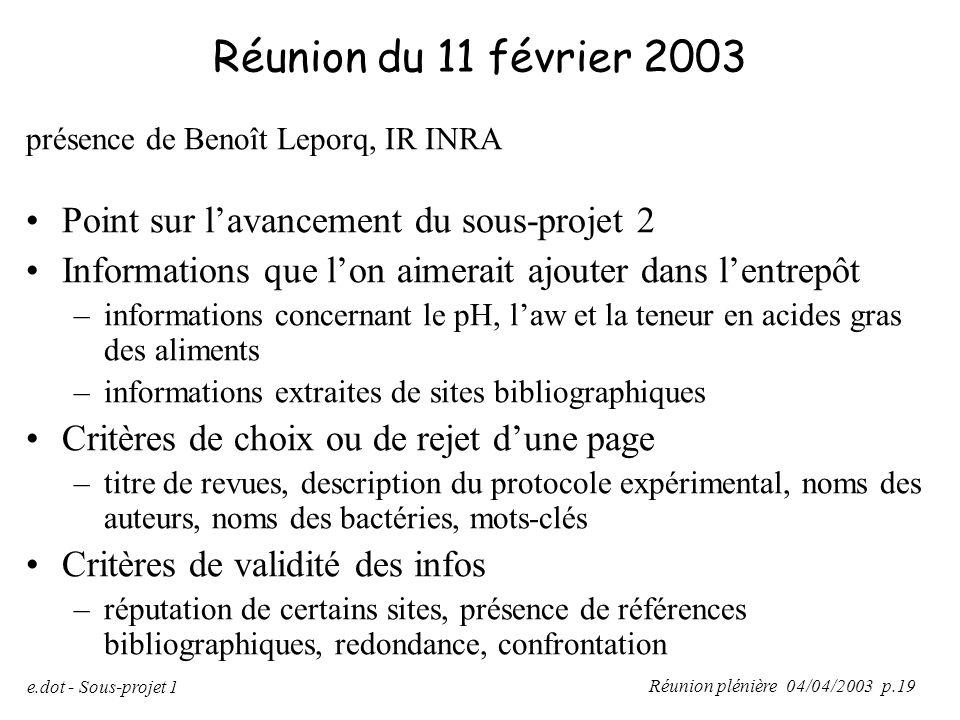 Réunion plénière 04/04/2003 p.19 e.dot - Sous-projet 1 Réunion du 11 février 2003 présence de Benoît Leporq, IR INRA Point sur l'avancement du sous-pr