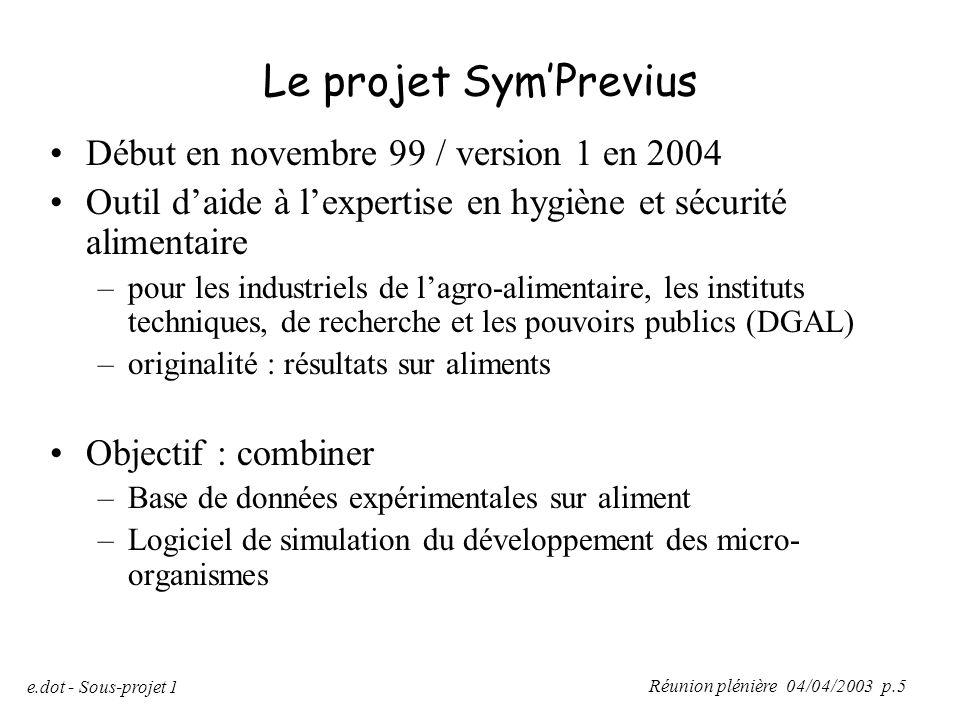 Réunion plénière 04/04/2003 p.5 e.dot - Sous-projet 1 Le projet Sym'Previus Début en novembre 99 / version 1 en 2004 Outil d'aide à l'expertise en hyg