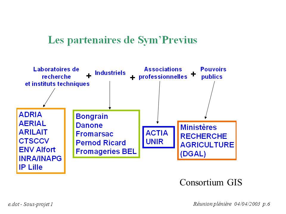 Réunion plénière 04/04/2003 p.6 e.dot - Sous-projet 1 Consortium GIS