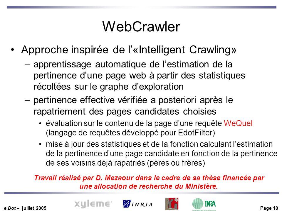 e.Dot – juillet 2005 Page 10 WebCrawler Approche inspirée de l'«Intelligent Crawling» –apprentissage automatique de l'estimation de la pertinence d'un