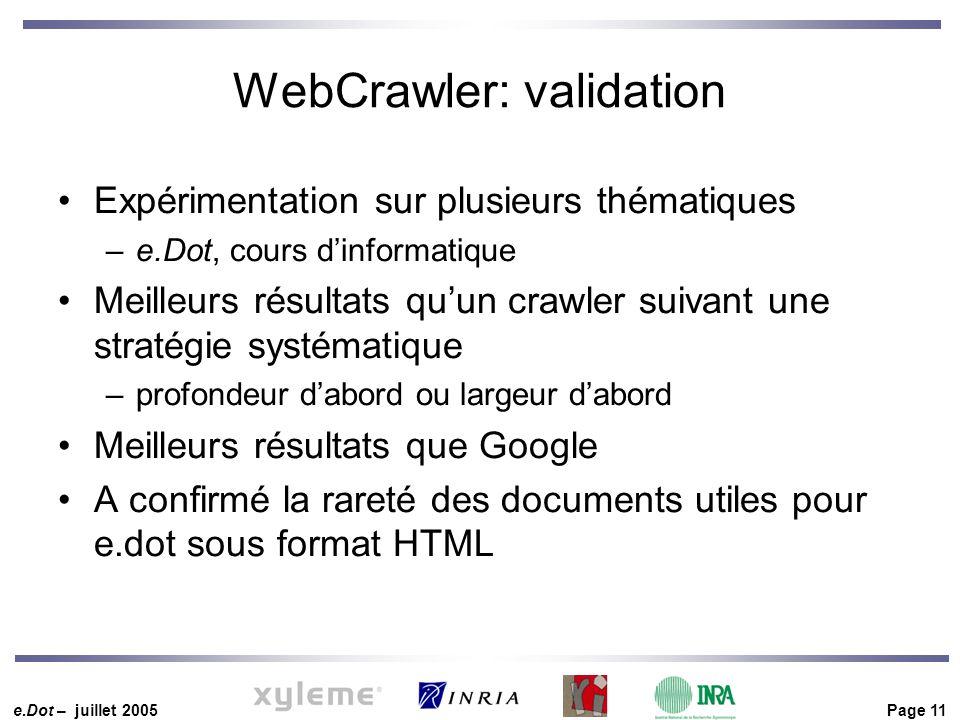 e.Dot – juillet 2005 Page 11 WebCrawler: validation Expérimentation sur plusieurs thématiques –e.Dot, cours d'informatique Meilleurs résultats qu'un c