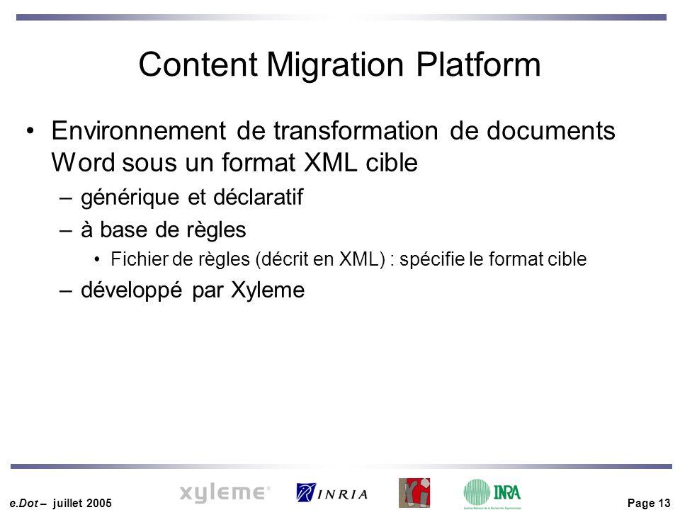 e.Dot – juillet 2005 Page 13 Content Migration Platform Environnement de transformation de documents Word sous un format XML cible –générique et décla