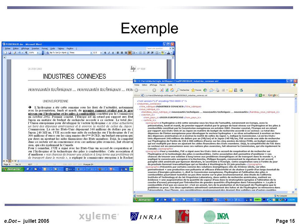 e.Dot – juillet 2005 Page 15 Exemple