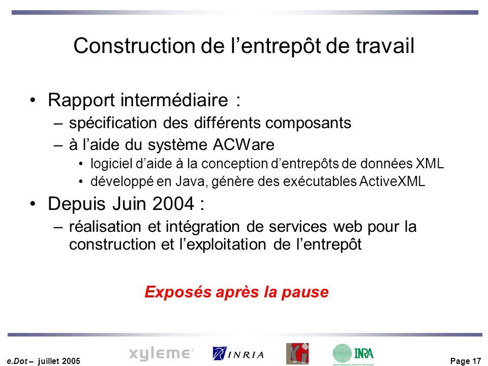 e.Dot – juillet 2005 Page 17 Construction de l'entrepôt de travail Rapport intermédiaire : –spécification des différents composants –à l'aide du systè
