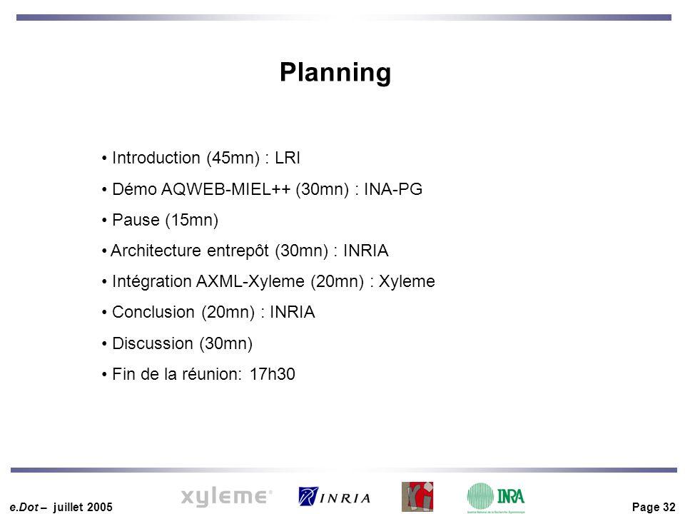 e.Dot – juillet 2005 Page 32 Introduction (45mn) : LRI Démo AQWEB-MIEL++ (30mn) : INA-PG Pause (15mn) Architecture entrepôt (30mn) : INRIA Intégration