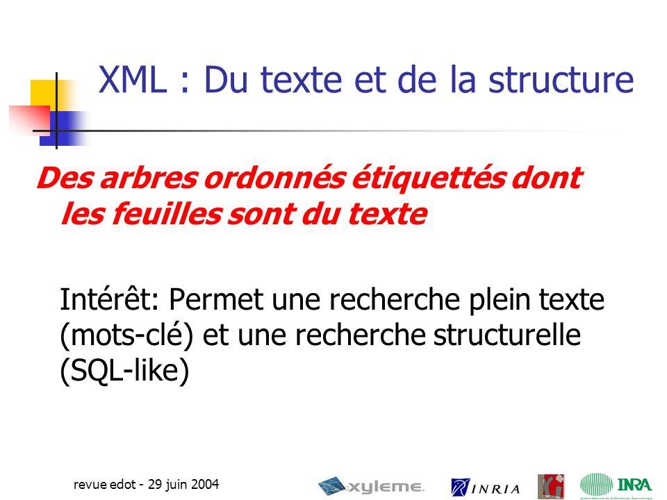 7 revue edot - 29 juin 2004 Services Web Possibilité d'activer une méthode sur un serveur web distant Echange d'informations en XML : les entrées et sorties se font en XML Méthode de calcul XML distribué, par le biais de services Web Avec XML et les Services Web, il est possible de Récupérer des informations de n'importe où Exporter nos données n'importe où
