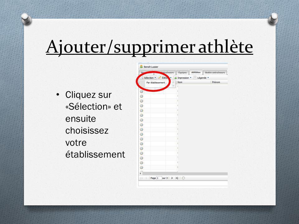 Ajouter/supprimer athlète Cliquez sur «Sélection» et ensuite choisissez votre établissement