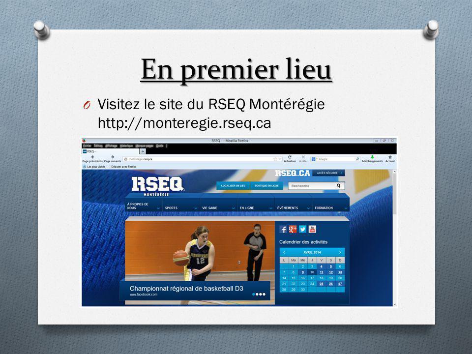 Inscription des Équipes Sélectionnez «Équipes»