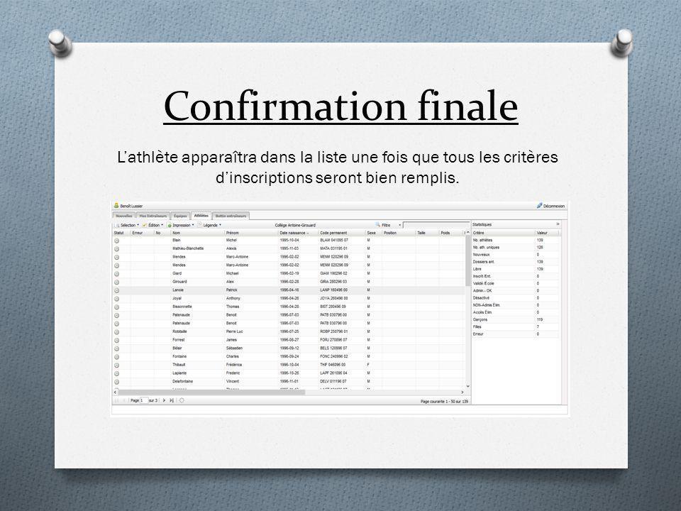 Confirmation finale L'athlète apparaîtra dans la liste une fois que tous les critères d'inscriptions seront bien remplis.