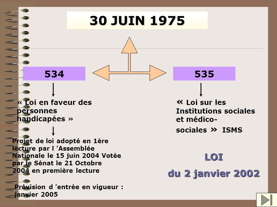 DE « Loi pour l 'égalité des droits et des chances, la participation et la citoyenneté des personnes handicapées » Se substitue à la loi 534 du 30 jui