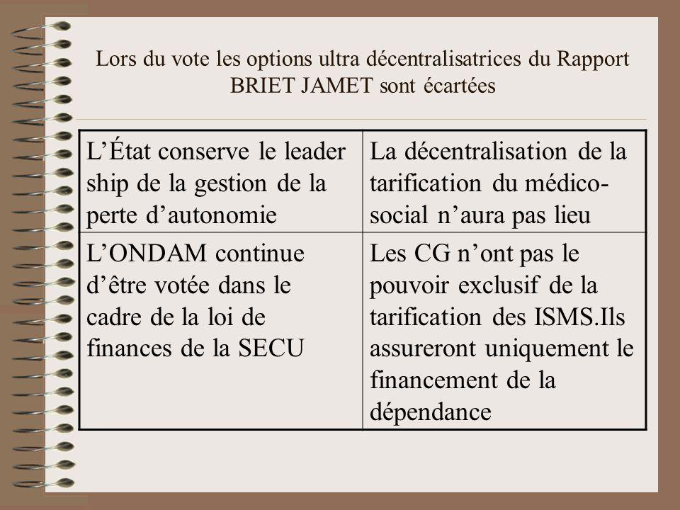 Lors du vote les options ultra décentralisatrices du Rapport BRIET JAMET sont écartées L'État conserve le leader ship de la gestion de la perte d'autonomie La décentralisation de la tarification du médico- social n'aura pas lieu L'ONDAM continue d'être votée dans le cadre de la loi de finances de la SECU Les CG n'ont pas le pouvoir exclusif de la tarification des ISMS.Ils assureront uniquement le financement de la dépendance