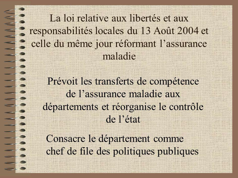 La loi relative aux libertés et aux responsabilités locales du 13 Août 2004 et celle du même jour réformant l'assurance maladie Prévoit les transferts de compétence de l'assurance maladie aux départements et réorganise le contrôle de l'état Consacre le département comme chef de file des politiques publiques