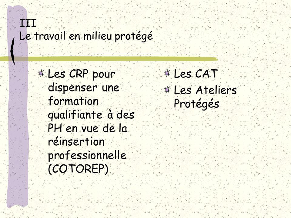 III Le travail en milieu protégé Les CRP pour dispenser une formation qualifiante à des PH en vue de la réinsertion professionnelle (COTOREP) Les CAT