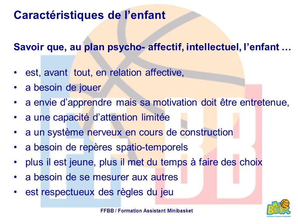 Caractéristiques de l'enfant Savoir que, au plan psycho- affectif, intellectuel, l'enfant … est, avant tout, en relation affective, a besoin de jouer