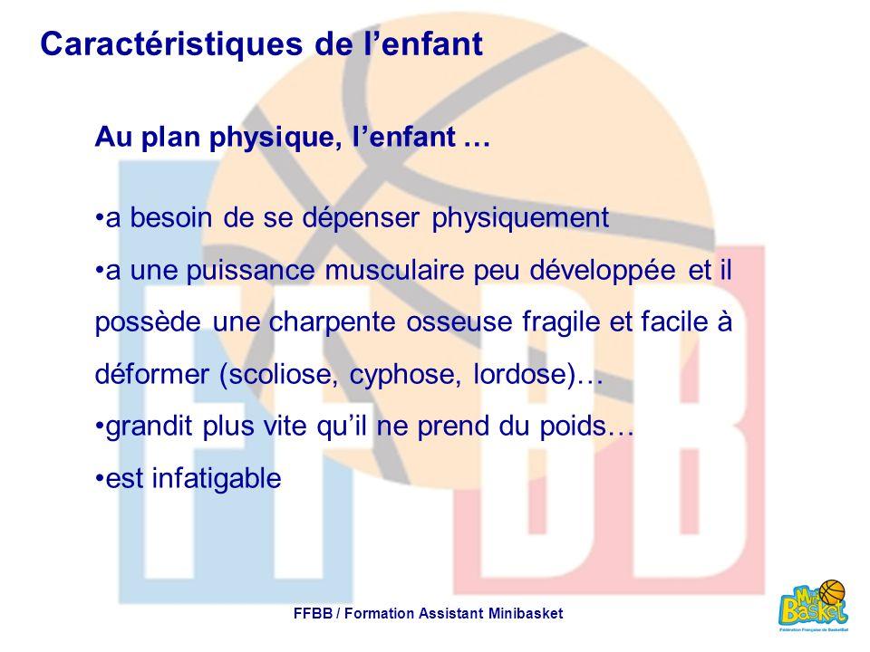 Caractéristiques de l'enfant Au plan physique, l'enfant … a besoin de se dépenser physiquement a une puissance musculaire peu développée et il possède