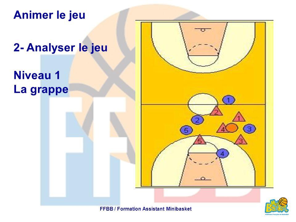 Animer le jeu 2- Analyser le jeu Niveau 1 La grappe FFBB / Formation Assistant Minibasket
