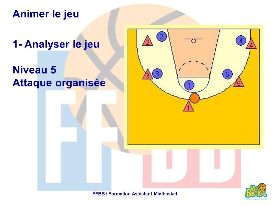 Animer le jeu 1- Analyser le jeu Niveau 5 Attaque organisée FFBB / Formation Assistant Minibasket