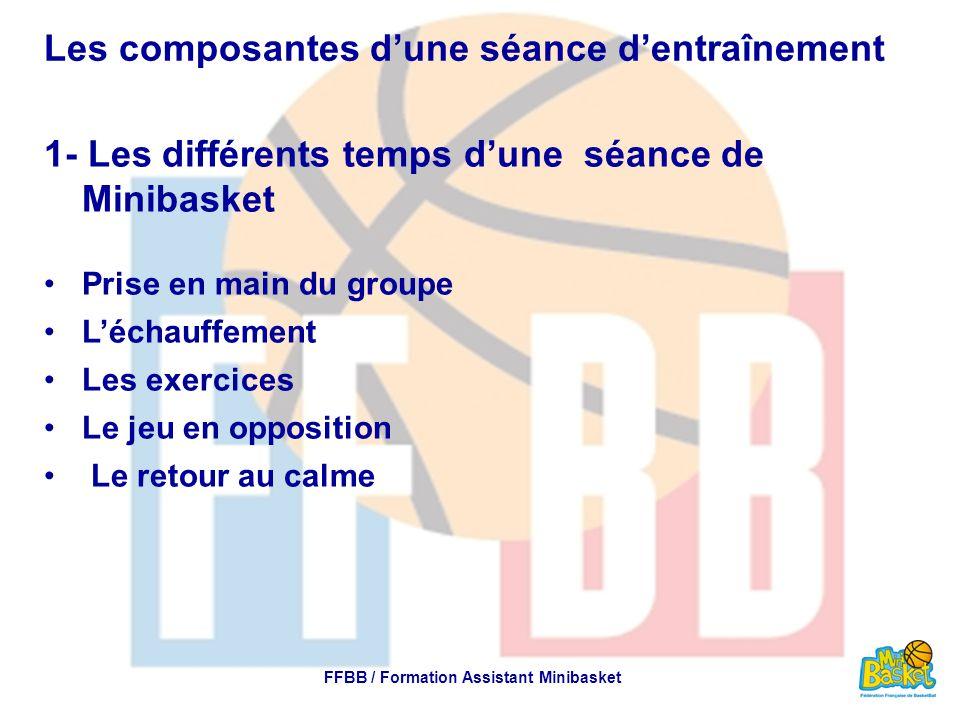Les composantes d'une séance d'entraînement 1- Les différents temps d'une séance de Minibasket Prise en main du groupe L'échauffement Les exercices Le jeu en opposition Le retour au calme FFBB / Formation Assistant Minibasket