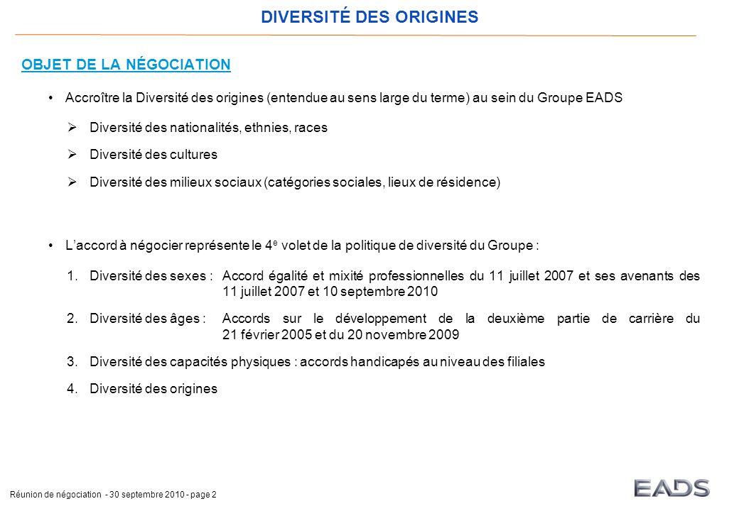 DIVERSITÉ DES ORIGINES Réunion de négociation - 30 septembre 2010 - page 2 OBJET DE LA NÉGOCIATION Accroître la Diversité des origines (entendue au se