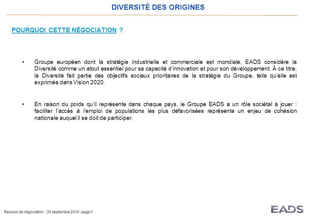 DIVERSITÉ DES ORIGINES Réunion de négociation - 30 septembre 2010 - page 3 POURQUOI CETTE NÉGOCIATION .