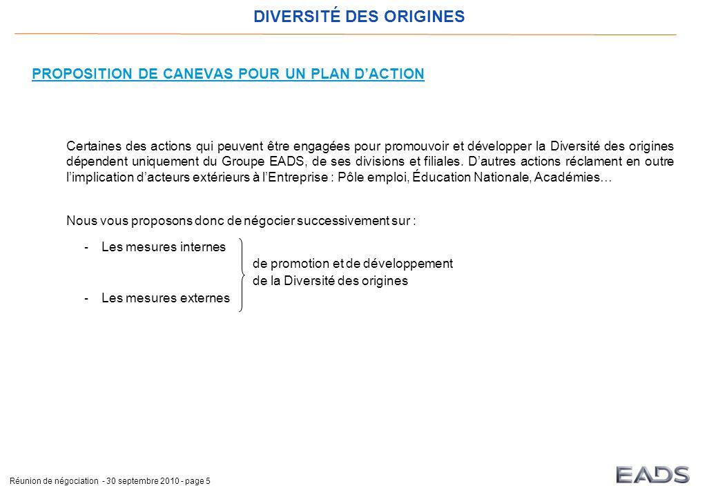 DIVERSITÉ DES ORIGINES Réunion de négociation - 30 septembre 2010 - page 5 PROPOSITION DE CANEVAS POUR UN PLAN D'ACTION Certaines des actions qui peuv