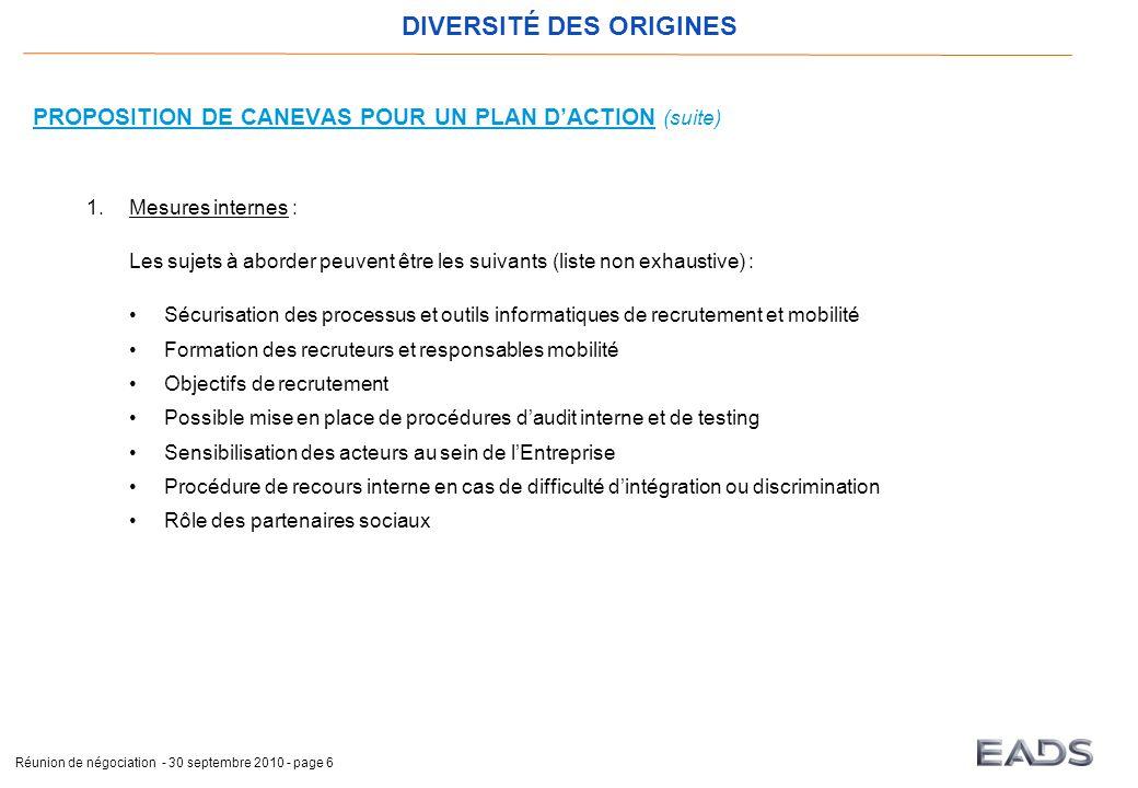 DIVERSITÉ DES ORIGINES Réunion de négociation - 30 septembre 2010 - page 6 PROPOSITION DE CANEVAS POUR UN PLAN D'ACTION (suite) 1.Mesures internes : L