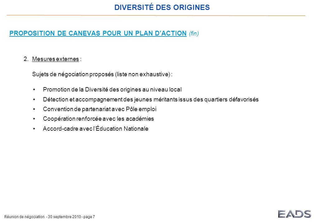 DIVERSITÉ DES ORIGINES Réunion de négociation - 30 septembre 2010 - page 7 PROPOSITION DE CANEVAS POUR UN PLAN D'ACTION (fin) 2.Mesures externes : Suj