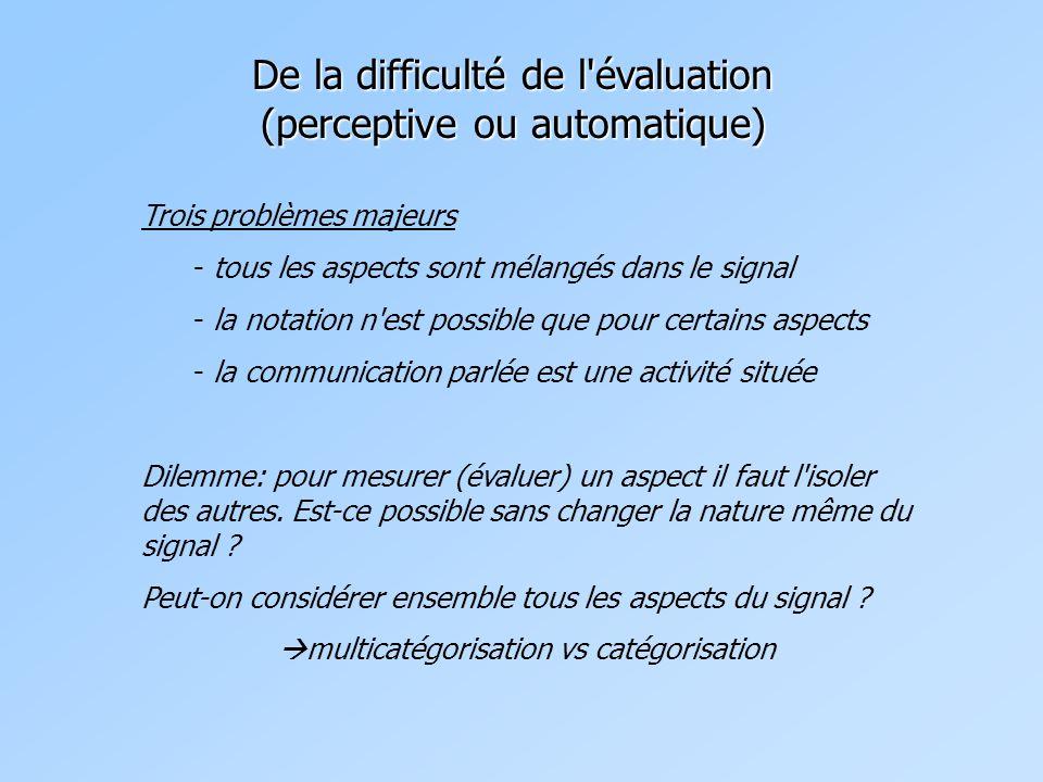 De la difficulté de l évaluation (perceptive ou automatique) Trois problèmes majeurs - tous les aspects sont mélangés dans le signal - la notation n est possible que pour certains aspects - la communication parlée est une activité située Dilemme: pour mesurer (évaluer) un aspect il faut l isoler des autres.