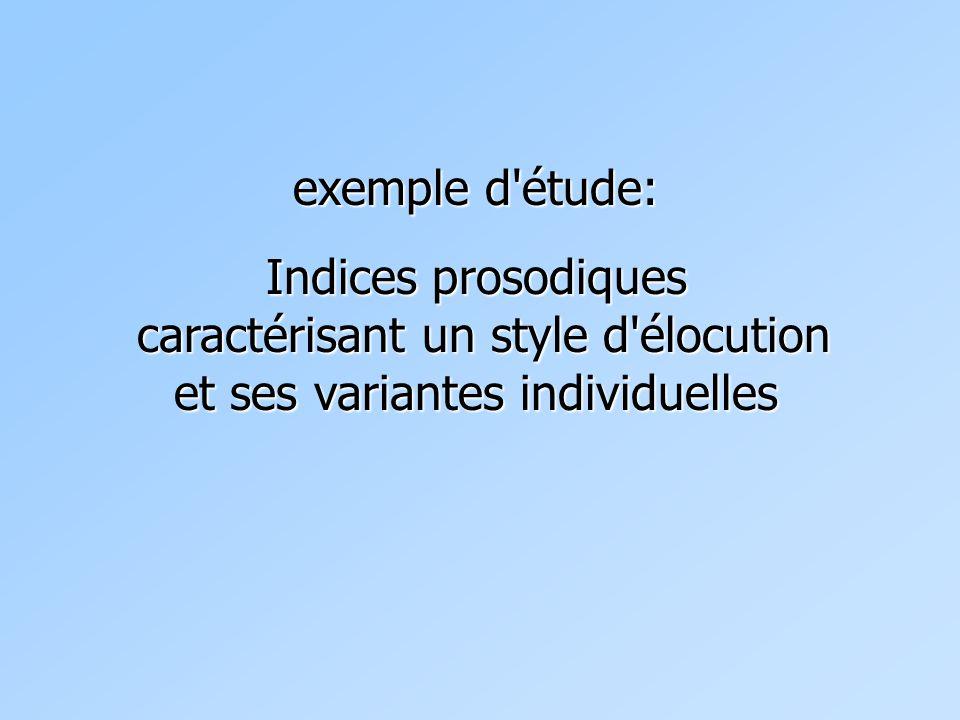 exemple d'étude: Indices prosodiques caractérisant un style d'élocution et ses variantes individuelles