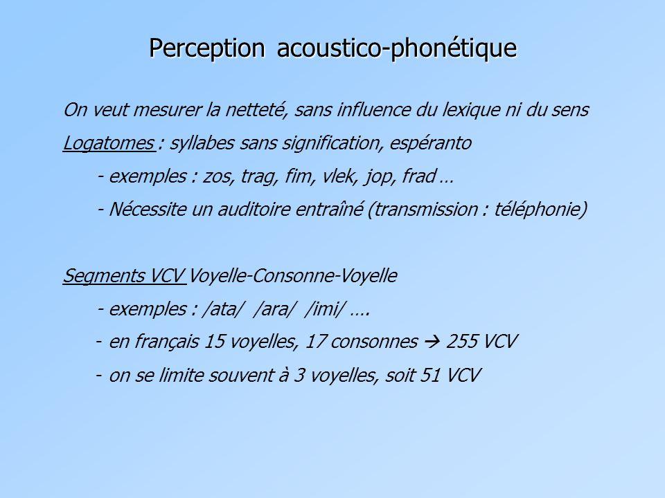 On veut mesurer la netteté, sans influence du lexique ni du sens Logatomes : syllabes sans signification, espéranto - exemples : zos, trag, fim, vlek, jop, frad … - Nécessite un auditoire entraîné (transmission : téléphonie) Segments VCV Voyelle-Consonne-Voyelle - exemples : /ata/ /ara/ /imi/ ….
