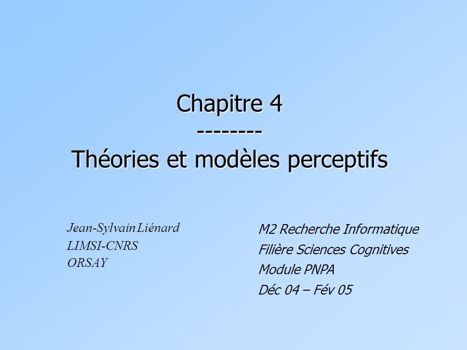 Chapitre 4 -------- Théories et modèles perceptifs Jean-Sylvain Liénard LIMSI-CNRS ORSAY M2 Recherche Informatique Filière Sciences Cognitives Module PNPA Déc 04 – Fév 05