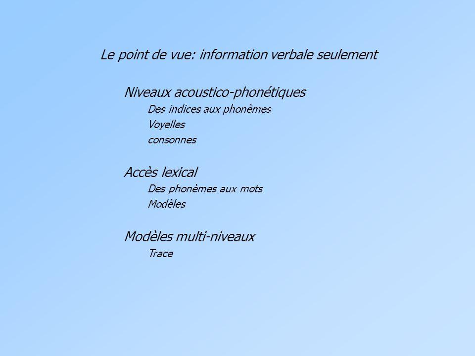 Le point de vue: information verbale seulement Niveaux acoustico-phonétiques Des indices aux phonèmes Voyelles consonnes Accès lexical Des phonèmes aux mots Modèles Modèles multi-niveaux Trace