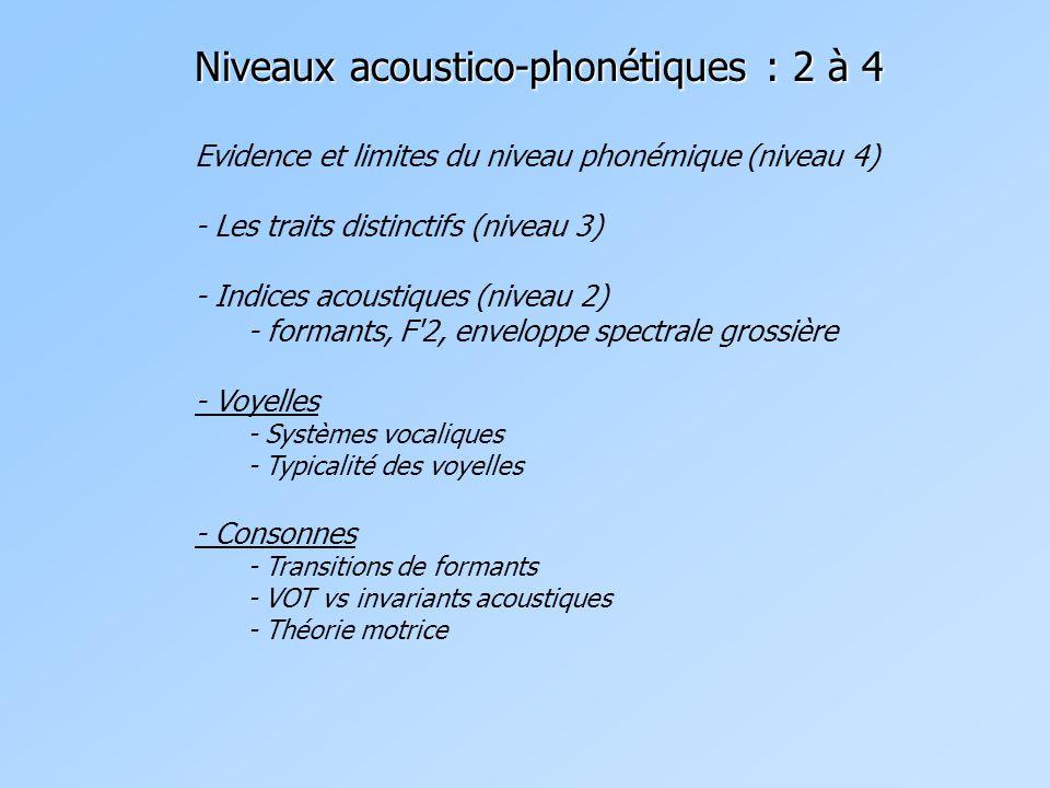 Evidence et limites du niveau phonémique (niveau 4) - Les traits distinctifs (niveau 3) - Indices acoustiques (niveau 2) - formants, F 2, enveloppe spectrale grossière - Voyelles - Systèmes vocaliques - Typicalité des voyelles - Consonnes - Transitions de formants - VOT vs invariants acoustiques - Théorie motrice Niveaux acoustico-phonétiques : 2 à 4