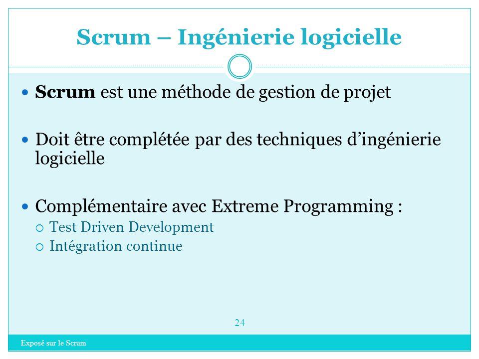 Exposé sur le Scrum 23 Introduction à Scrum Rappel sur les méthodes agiles Scrum  Principes clés  Les rôles  Planifier un projet  Organisation  I