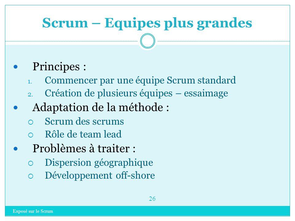 Exposé sur le Scrum 25 Introduction à Scrum Rappel sur les méthodes agiles Scrum  Principes clés  Les rôles  Planifier un projet  Organisation  I