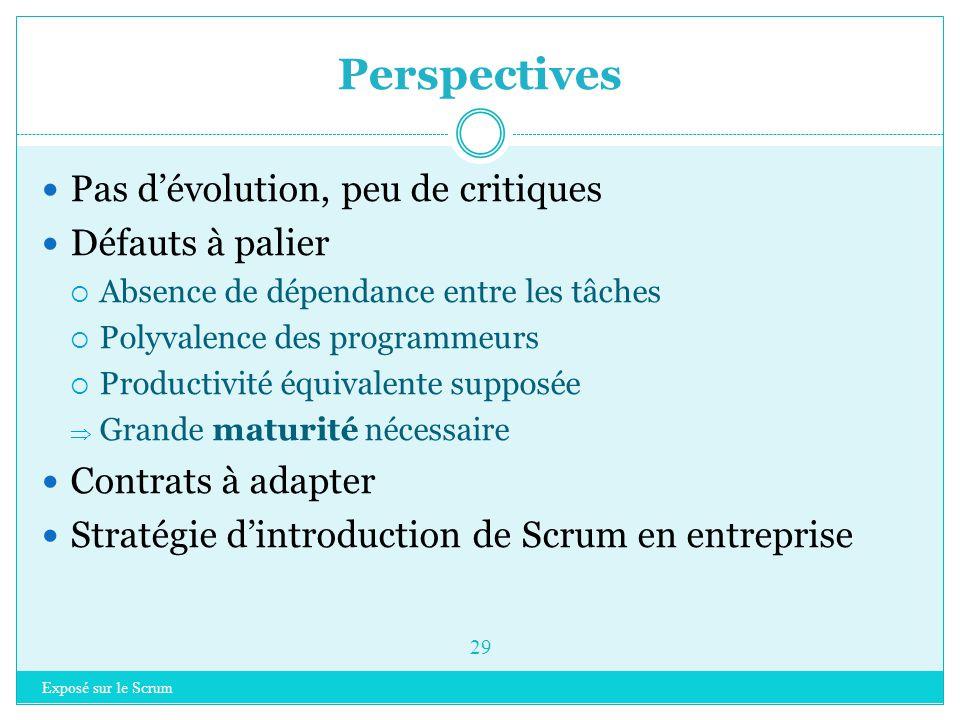 Exposé sur le Scrum 28 Introduction à Scrum Rappel sur les méthodes agiles Scrum  Principes clés  Les rôles  Planifier un projet  Organisation  I