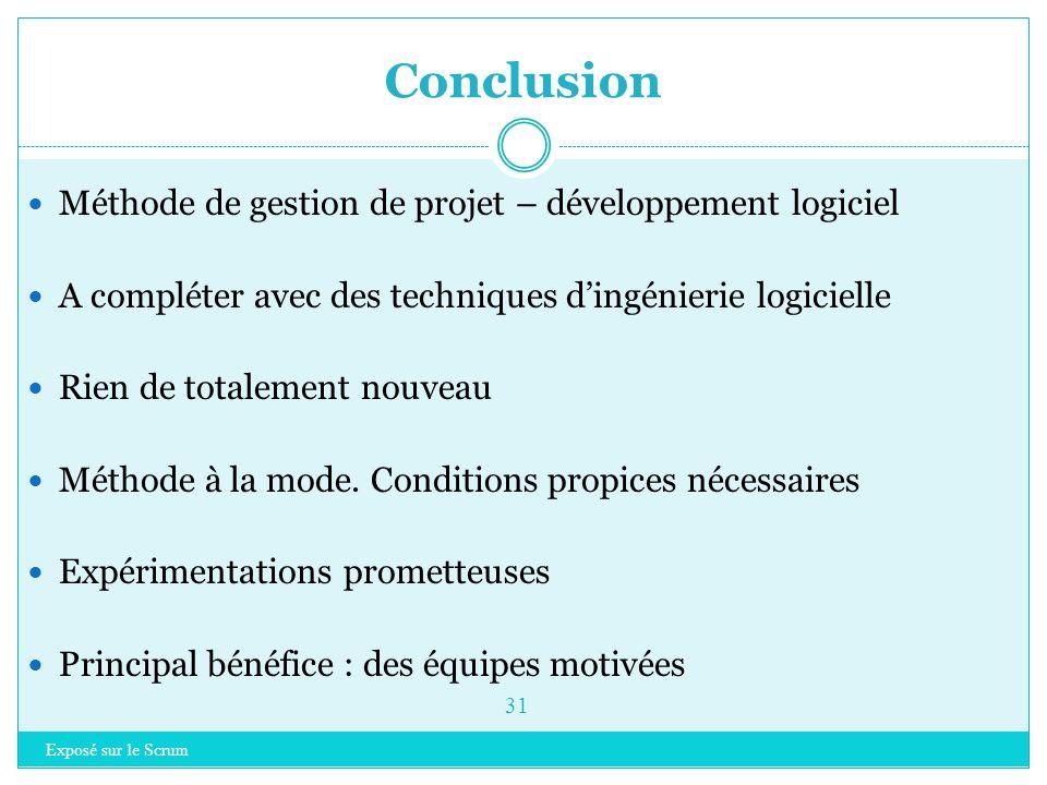 Exposé sur le Scrum 30 Introduction à Scrum Rappel sur les méthodes agiles Scrum  Principes clés  Les rôles  Planifier un projet  Organisation  I